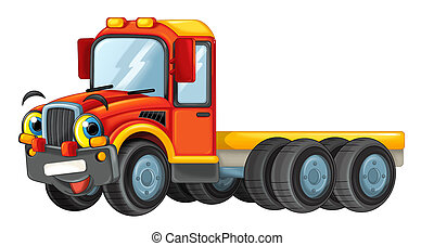 cartoon happy truck isolated on white background - illustration for children