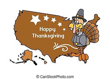 Thanksgiving Day Greeting Banner - Cartoon Happy Turkey Bird...