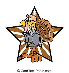 Cartoon Happy Turkey Bird Vector