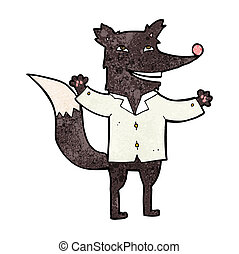 cartoon happy wolf wearing shirt