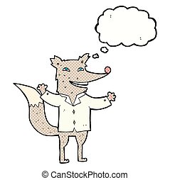 cartoon happy wolf wearing shirt with thought bubble