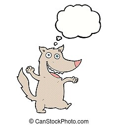 cartoon happy wolf with thought bubble