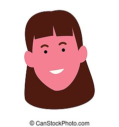 Cartoon happy woman face icon