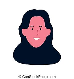 Cartoon happy woman face icon, flat design