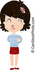 cartoon happy woman with folded arms
