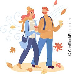 Cartoon happy young couple walk in autumn and drink hot coffee isolated on white, vector illustration.