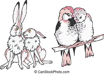 Cartoon hare and birdie couples in love
