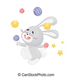 Cartoon hare juggler. Vector illustration on a white background.