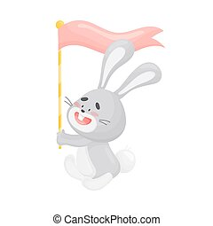 Cartoon hare with a flag. Vector illustration on a white background.