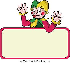 Cartoon harlequin with bulletin board. - Cartoon harlequin...