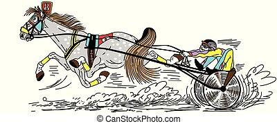 cartoon harness race - cartoon harness horse racing . Fast ...