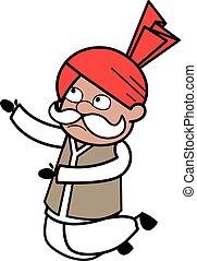 Cartoon Haryanvi Old Man Begging