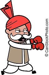 Cartoon Haryanvi Old Man Boxing