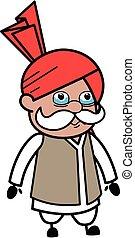 Cartoon Haryanvi Old Man Crying