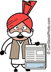 Cartoon Haryanvi Old Man holding a newspaper