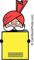 Cartoon Haryanvi Old Man holding a paper banner