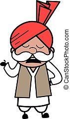 Cartoon Haryanvi Old Man Pensive