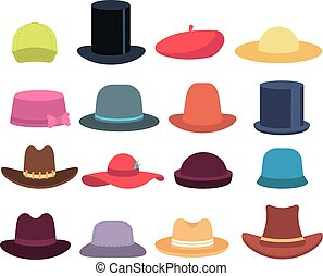 Cartoon hats. Male and female headgear. Hat and cap casual models, headdress vector isolated set