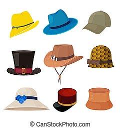 Cartoon hats. Male and female stylish accessories of wardrobe headwear flat fashion collection
