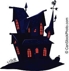Cartoon haunted old house. Vetor illustration isolated