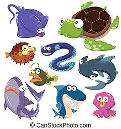 cartoon, hav dyr, illusration, samling