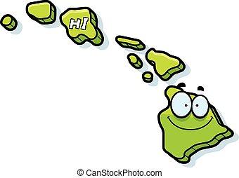 Cartoon Hawaii - A cartoon illustration of the state of...