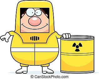 Cartoon Hazmat Waste - A cartoon illustration of a man in a...