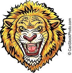 Cartoon head angry lion mascot