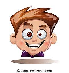 Cartoon head boy. Funny smiley.