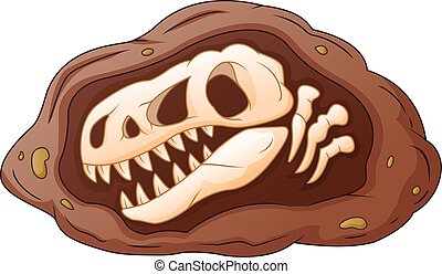 Cartoon head dinosaur fossil - Vector illustration of...