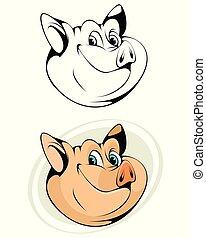 Cartoon head of pig