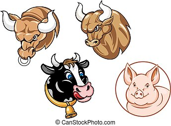 Cartoon heads of bulls, cow and pig