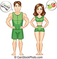 Cartoon healthy and sporty woman and man. Vector...