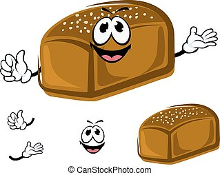 Cartoon healthy dark rye bread character