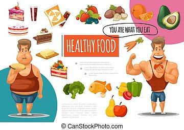 Cartoon Healthy Food Concept