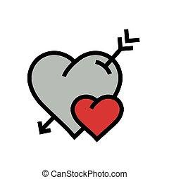 cartoon heart arrow icon red color