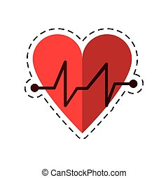 cartoon heart beat pulse cardiac medical icon