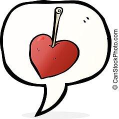 cartoon heart cherry with speech bubble