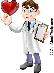 Cartoon Heart Doctor - Cartoon illustration of a young...