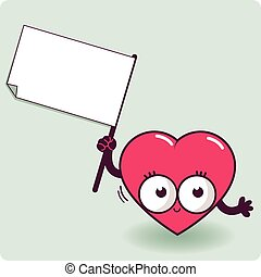 Cartoon heart holding a blank sign