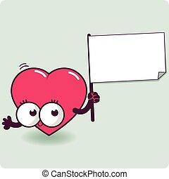 Cartoon heart holding a blank sign.