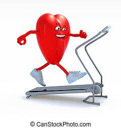 cartoon heart on a running machine