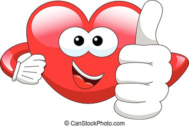Cartoon heart thumb up