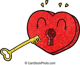cartoon heart with key