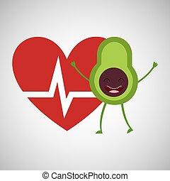 cartoon heartrate avocado fruit