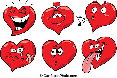 cartoon hearts set - cartoon illustration of funny hearts ...