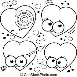 Cartoon hearts. Vector black and white coloring page.