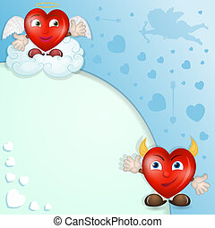 Cartoon hearts with cupid
