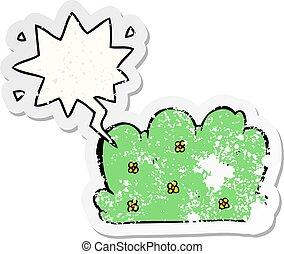 cartoon hedge and speech bubble distressed sticker - cartoon...