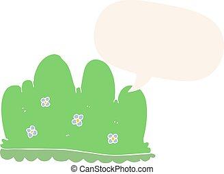 cartoon hedge and speech bubble in retro style - cartoon ...